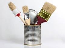 Borstel in tin stock foto's