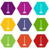 Borstel voor een vastgestelde kleur van het vloerpictogram hexahedron Royalty-vrije Stock Fotografie