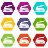 Borstel voor het schoonmaken pictogram vastgestelde kleur hexahedron Royalty-vrije Stock Foto