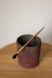 Borstel voor waterverf op ceramisch glas Royalty-vrije Stock Afbeeldingen