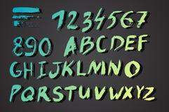 Borstelmanuscript inktalfabet Royalty-vrije Stock Afbeeldingen