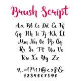 Borstelmanuscript met in kleine letters en hoofdletters Stock Fotografie