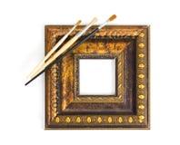 Borstels en frame stock afbeelding
