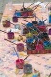 Borstels en pigment Stock Foto