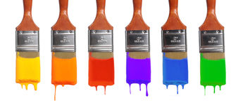 Borstels met Verschillende Kleuren Stock Fotografie