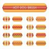 Borstels van de hotdog de naadloze decoratie Royalty-vrije Stock Afbeeldingen