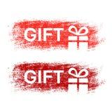 Borstelslag, etiketten met witte symbolen van Kerstmisgift, stickers voor Kerstmisverkoop Het rood, donkerrood en het blauw strat Royalty-vrije Stock Afbeeldingen