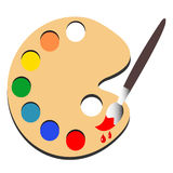 Borstemålarfärg med palettmålarfärgvektorn Arkivbild