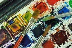 borstemålarfärger Arkivbilder