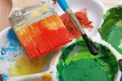borstemålningspalett Royaltyfri Foto