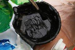 borstemålningspalett Royaltyfri Fotografi