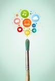 Borstenärbild med sociala nätverkssymboler Royaltyfri Foto