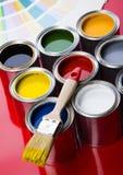 borsten på burk målarfärg Fotografering för Bildbyråer