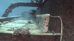 Bort des Schiffs Salem Express auf Meeresgrund ruiniert unter Wasser in Ägypten stock footage
