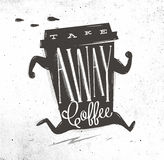 Bort kaffe för affischtagande stock illustrationer