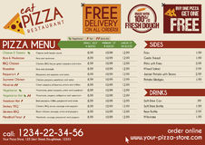 Bort meny för pizzarestaurangtagande Arkivfoto