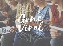 Borta virus- socialt massmedia som knyter kontakt anslutning som delar begrepp Royaltyfri Bild