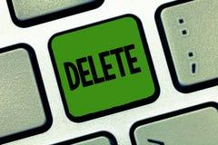 Borttagnings för ordhandstiltext Affärsidéen för tar bort eller utplånar den skriftliga eller utskrivavna frågan, genom att dra l arkivbilder