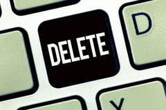 Borttagnings för ordhandstiltext Affärsidéen för tar bort eller utplånar den skriftliga eller utskrivavna frågan, genom att dra l royaltyfri fotografi