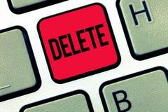 Borttagnings för textteckenvisning Det begreppsmässiga fotoet tar bort eller utplånar den skriftliga eller utskrivavna frågan, ge fotografering för bildbyråer