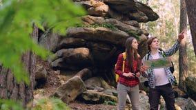 Borttappade turister står i skog nära enormt vaggar, ser översikten därefter till och med kikare och talar diskutera vägen stock video