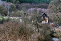 Borttappat hus i buske Arkivfoton