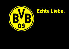 Borussia Dortmund. Badge and slogan of Borussia Dortmund: German Football League Championship Winner 2011 and 2012. Slogan: Echte Liebe (German) meaning true Stock Image