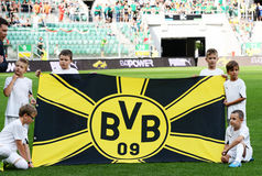 Borussia Dortmund. BVB flag. Wroclaw. POLAND - August 06: Match friendly between Wks Slask Wroclaw and Borussia Dortmund. BVB flag  on August 06, 2014 in Wroclaw Royalty Free Stock Image