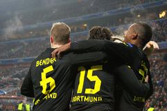 Borussia Dortmund celebrates goal during the Champions League match against Shakhtar Stock Photos