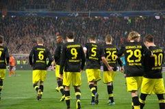 Borussia Dortmund efter ett mål som göras poäng i mästareligan Royaltyfria Bilder