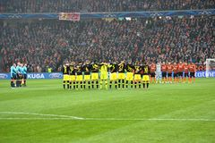 Borussia Dortmund and FC Shakhtar team before the match of the Champions League Royalty Free Stock Photo