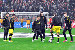Borussia Dortmund football team warm up before the game Royalty Free Stock Image