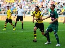 Borussia Dortmund.Neven Subotic. Wroclaw. POLAND - August 06: Match friendly between Wks Slask Wroclaw and Borussia Dortmund.Neven Subotic  on August 06, 2014 in Stock Photos