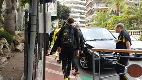 Borussia Dortmund Players in Monaco. Monte-Carlo, Monaco - April 18, 2017: BV 09 Borussia Dortmund Players Leave A Luxurious Hotel in Monaco. Monaco VS Borussia stock video footage