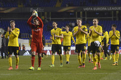 Borussia Dortmund players thanking to fans. Football players pictured after UEFA Europa League round of 16 game between Tottenham Hotspur and Borussia Dortmund stock photos