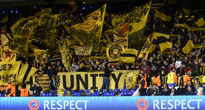 Borussia Dortmund ultras with flags. Borusia's ultras fans pictured during UEFA Europa League round of 16 game between Tottenham Hotspur and Borussia Dortmund on Stock Images