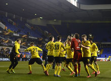 Borussia Dortmund victory celebration. Football players pictured after UEFA Europa League round of 16 game between Tottenham Hotspur and Borussia Dortmund on Stock Images