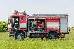 BORYSPIL, DE OEKRAÏNE - MEI, 20, 2015: Rode firetruck Stock Afbeelding