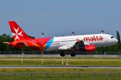 Air Malta Airbus A320. Boryspil International Airport / Ukraine - May, 26, 2018: Air Malta Airbus A320-200 9H-AEN Royalty Free Stock Images
