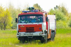 BORYSPIL, UCRAINA - MAGGIO, 20, 2015: Firetruck rosso Fotografie Stock