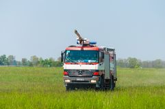 BORYSPIL UKRAINA, MAJ, -, 20, 2015: Jednostka straży pożarnej dalej obraz stock