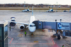 Boryspil, Ukraine. Aircraft ground handling Stock Photos