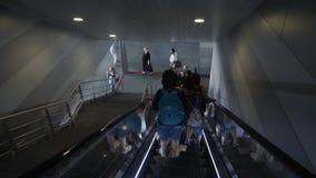 Boryspil/Ukraine-July,19 2019 - escalator at the airport Boryspil. People descending the escalator to aircraft departure area.  stock video