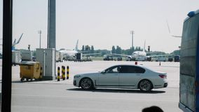 Boryspil/Ukraine-July,19 2019 - Service transport at the airport Boryspil. Passenger bus at airport. Landing strip.  stock footage