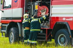 BORYSPIL, UKRAINE - MAI, 20, 2015: Feuerwehrmann Stockfoto