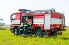 BORYSPIL, UKRAINE - MAI, 20, 2015: Feuerwehrmann Stockbild