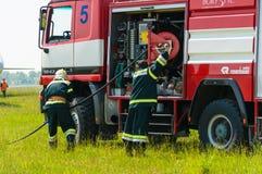 BORYSPIL, UKRAINE - MAI, 20, 2015 : Sapeur-pompier Photographie stock