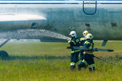 BORYSPIL, UKRAINE - MAI, 20, 2015 : Sapeurs-pompiers Photos stock