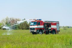 BORYSPIL, UKRAINE - MAY, 20, 2015: Fire-brigade on Royalty Free Stock Photo