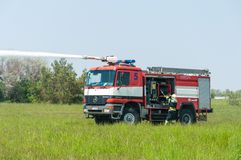 BORYSPIL, UKRAINE - MAY, 20, 2015: Fire-brigade on Royalty Free Stock Photography